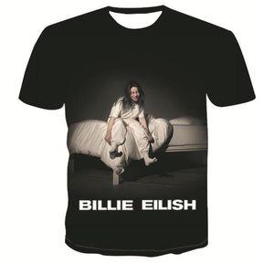 Frauen-T-Shirts Mode-Digital-gedrucktes lose weibliche T-Shirts beiläufige mit Rundhalsausschnitt Damen Tops Billie Eilish Sommer