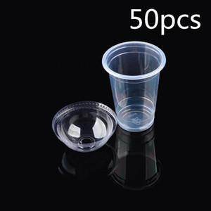 100% Novo Marca 50 Pcs / Set Limpar plásticos descartáveis copo de chá Copos de café com tampas 450ml de água gelada Café bolha Boba Smoothie