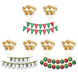 1set Merry Christmas Paper Pull Flags Pendant 12 inch sequin balloon Ornaments Banner Scene Layout Garlands Christmas Decor