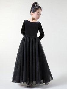 Tick Tok 2020 New Girl's Black Long Sleeve Evening Dress Lovely Piano Performance Dress Violin Performance Princess Skirt Summer