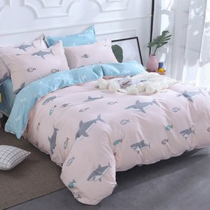 2019 Nueva AB Side Bedding Solid Simple Bedding Set Modern Duvet Cover Set King Queen Full Twin Bed Linen Brief Bed Flat Sheet