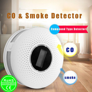2 EM 1 LCD CO carbono fumaça de monóxido de alarme integrado de Voz Detector Avisar Sensor Home Security Proteção alta Sensitive