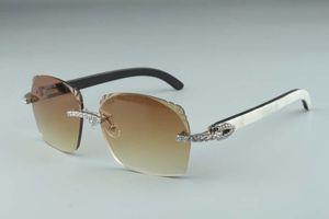 2019 개 다이아몬드 절삭 T8300916-1 마이크로 렌즈 선글라스 천연 흰색과 검은 하이브리드 버팔로 경적 안경 다리 설계 크기 : 18~140mm