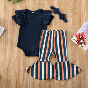 Yaz Kısa Kollu Mavi fırfır Bodysuit Çizgili Flared Pantolon Kıyafet 3PCS Yürüyor Bebek Yenidoğan Çocuk Kız Bebek Giyim Seti