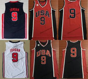Erkek Vintage Erkek 1984 ABD Michael Jodan # 9 İlk ABD Bir Takım Rüya Basketbol Formaları Vintage Mavi Kırmızı Michael Jorda Gömlek S-XXL