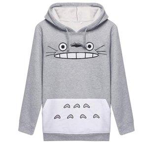 Harajuku Mulheres Camisola 2017 Moda Dos Desenhos Animados Totoro Animal bts Imprimir Moletom Com Capuz Primavera Outono Fora Pullove Cinza de Algodão Fino Plus Size