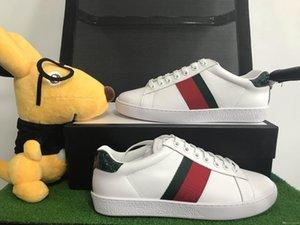 Lüks Erkekler Tasarımcı ACE Günlük Ayakkabılar Yeşil Kırmızı Çizgili Ace Spor Ayakkabıları Yüksek Kalite tüm Beyaz Deri Casual Ayakkabı Dantel Kutu boyutu 35-46