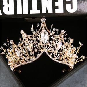 2020 Bride coréenne main Coiffe d'or de Super Fée Femme strass Couronne cheveux bande de mariage Accessoires de cheveux de mariage bijoux en gros