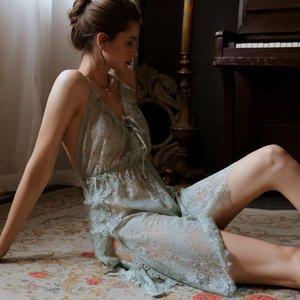 Munllure ретро сексуальные женщины без спинки кружева ремней Nightdress боковых разрезов искушения белья