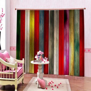 Window Blackout Colorful wood planks 3D Curtains set For Bed room Living room Office Hotel Home Wall Decorative Drape tapestry