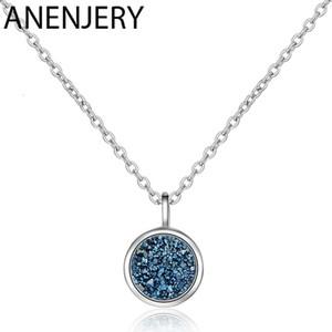 925 colar de prata Sterling Blue Crystal Fragment Kyanite Estrela Planeta Colar Para Mulheres Cadeia Choker