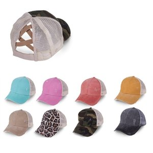 Women High Ponytail Baseball Washed Hat Cotton Adjustable Tucker Hat Criss Cross Messy Buns Caps DDA6