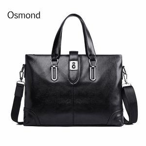 Osmond Men Briefcase PU Leather Men Bags Business  Male Briefcases Handbags Black Messenger Bag Tote Laptop Document Case
