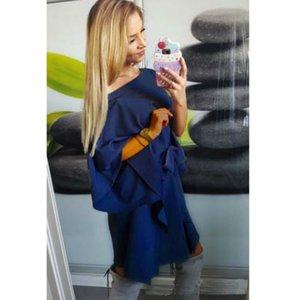 Vestidos de diseñador para mujer Vestido suelto irregular de verano Ladys Vestido de gasa de hombro delgado de manga media Color sólido Falda casual de calidad superior 2020