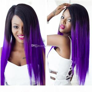 Celebrity Fashion parrucche Ombre colori diritta serica malese di Remy Capelli viola Lace Front wigs Free Shipping