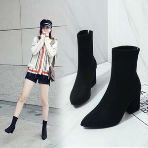winter boots, New autumn stretch boots, high-heeled boots, British style and velvet Martin boots.Girl zipper