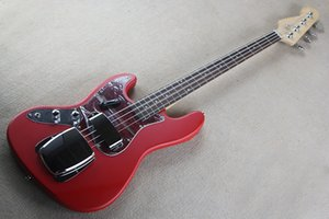 Factory Custom Matte Red Electric Bass Guitar with 4 Strings,Red Pickguard,Rosewood Fingerboard,Can be Customized