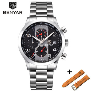 BENYAR New Fashion Chronograph Sport Watches Set Men Leather Strap Brand Quartz Blue Watch Clock Relogio Masculino Reloj Hombre
