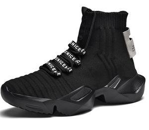 Moda nuevo diseño ocasionales respirables hombre al por mayor de la mosca de punto del calcetín zapatillas para caminar al aire libre Pareja