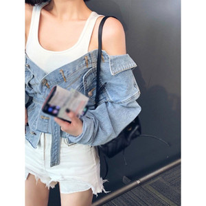 Autumn Winter Women Sexy Off Shoulder Denim Jacket Women Long Sleeve Basic Coat Casual Long Sleeve Tops