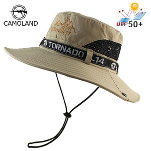 UPF 50+ Sun Hat Ведро Лето Мужчины Женщины Рыбалка Boonie Hat Вс УФ-Защита Длинные Большие Широкие Поля Сетки Туризм Открытый Пляж Cap Cap C18122501