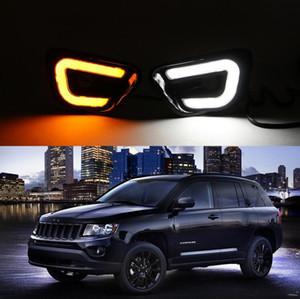 2 Unids Luz LED de Coche DRL Para Jeep Compass 2013 2014 2015 Con Función de Señal Amarilla Luz de Corriente Diurna Luz de Día