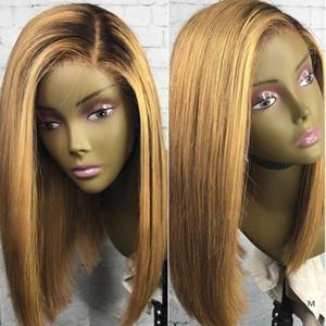 13x4 Bal Sarışın Dantel Ön İnsan Saç Peruk T1B / 27 Brezilyalı 130 Remy Saç Kısa Bob Peruk Siyah Kök Ağartılmış Knot Orta Oranı