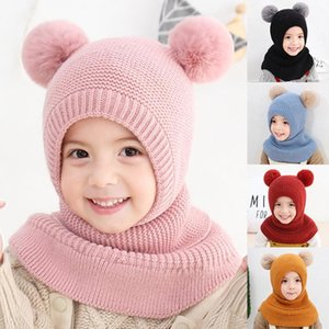 Child Baby Winter Hat Beanies Cap Kids Solid Color Stripe Warm Hooded Earflap Knitted For Boys Girl Fur Pompons Caps Thick Scarf