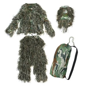 5 Pieces New Ghillie Suit Camo Woodland Camouflage Forest Hunting 3D Hunting Sets