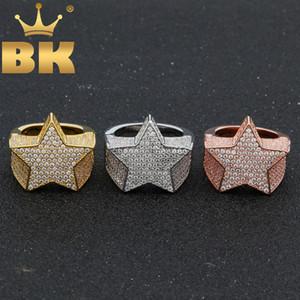 DIE BLING KING Fashion Star Ringe Gold-Silber-Farbe Voll Iced Zirkonia Hiphop Ring Schmuck für Männer und Frauen Drop Shipping CJ11911111