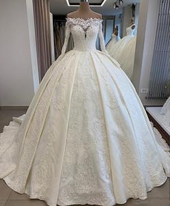 Lace frisada 2020 Bola Sexy Africano Dubai vestidos de casamento Bateau mangas compridas de cetim nupcial vestidos vintage vestidos vestidos de casamento