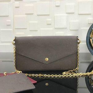 kutu marka bağbozumu tasarımcı hobo kadın omuz çantası gümüş zincir çanta ile Bez clutchbag çanta çıkarılabilir zincir M61276 ile Pochette Felicie