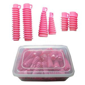 30pcs set 6 Sizes Hair Rollers Salon Hairdresser Fluffy Wavy Curlers Perm Setting Rods Screw Thread Cylinder Cone Curlers 1288