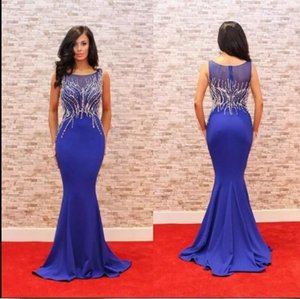 Modest Royal Blue Prom Party Dresses Mermaid Heavy Crystal Satin Red Carpet Evening Gowns Hot Sale 2019 New Custom Made