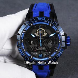 جديد excalibur 46 rddbex0749 التلقائي tourbillon رجل ووتش الأزرق الهيكل العظمي الداخلية الهاتفي pvd الصلب حالة الأزرق الجلود حزام الساعات hello_watch