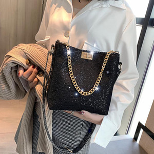 Designer-2019 Новый дизайнерский плечевой мешок для плеча модные блестки сумки сумки цепь мессенджер леди сумки сумки ведра NINI / 3 Tote BLA HCWFB