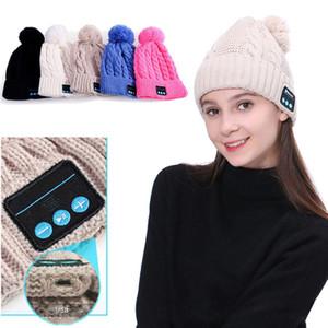 Wireless Bluetooth Smart Woman Cap Headset Headphone Speaker Mic Girls Headgear Adult Keep Warm Earmuffs Pompom Beanie SportHat