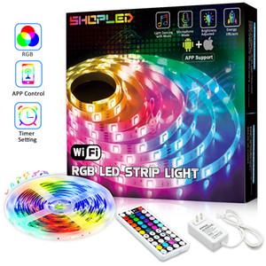 5050 RGB Wifi Controller LED Strip light 5M 30led m Waterproof Neon Flexible Tape Ribbon Strip Bluetooth Music Control 12V Power Adapter