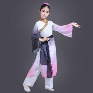 Chinois danse folklorique Costume enfant yangko Danse Cotsume évantail oriental Vêtements parapluie Danseur Porter ethnique scène Outfit 90