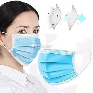 In Stock!Disposable Face Masks with Elastic Ear Loop 3 Ply Breathable and Comfortable for Blocking Dust Air Pollution Protection Free DHL