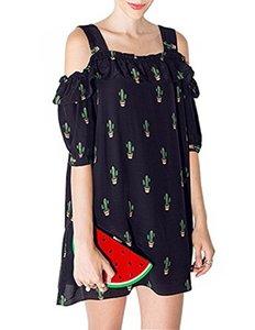 HaoDuoYi Womens Casual Kaktüs Baskı Soğuk Omuz Mini Elbise