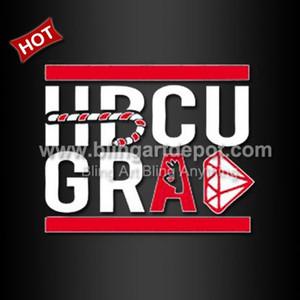 Diseño de impresión de vinilo de transferencia de calor graduado HBCU 20pcs / lot envío gratis