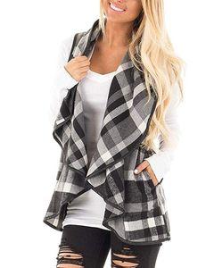 Ekose Yelek Kadınlar Cepler Ekose Patchwork Coat ev giyim GGA3039 ile Yaka Kolsuz Açık Ön Hem Yelekler Gömlek ceket edin