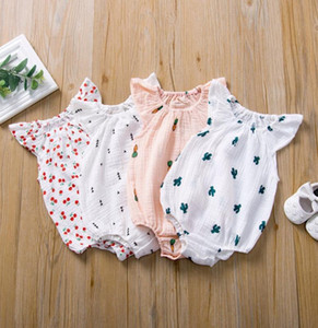 INS Baby Girl Clothes Ruffle Toddler Rompers Cartoon Infant Girls Jumpsuits Sleeveless Newborn Playsuit Boutique Baby Clothing DW5233