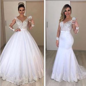 2020 Deux en un Amovible Robe de mariée Sheer cou à manches longues en dentelle sirène Appliques robe de bal robe de mariée avec Sash