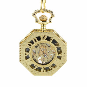 CKKU Jewelry Octagon Luxury Retro Mechanical Pocket Watches with Arabic Number with 15 Inch Chain for Men Women Gift LPW866