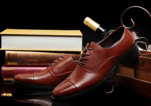 Para hombre de cuero de la venta-uine calientes Vestir Zapatos de los hombres grandes del tamaño del dedo del pie zapatos pinted Negro y negro de los hombres