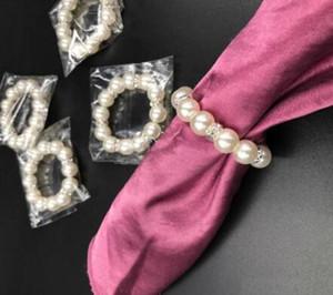 100pcs / Lot perlas blancas anillos de servilleta de la boda de la servilleta de la hebilla para la recepción de la boda del partido Tabla fuentes de las decoraciones