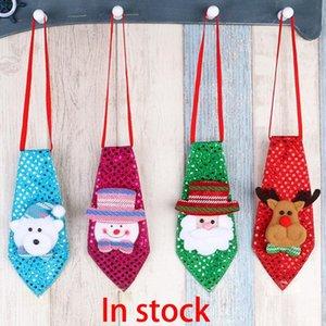 Tie Bambini Natale LED Paillettes Tie Santa Snowman Renne Little Bear Tie Xmas Party Moda Decorazione trasporto libero WX-C49