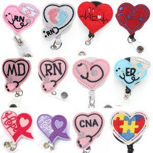 ЭКГ сердце медсестра выдвижной RN знак держатель катушки со стетоскопом выдвижной медицинский ID знак катушки Аллигатор поворотный клип